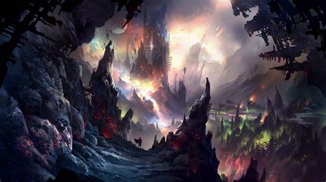 wallpaper dark cave landscape underworld towers