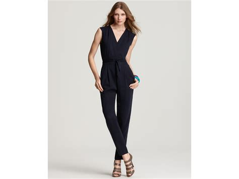 wrap jumpsuit faux wrap jumpsuit in blue navy lyst