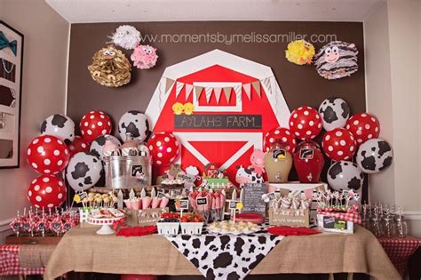 farm theme birthday party girl toddler   food table