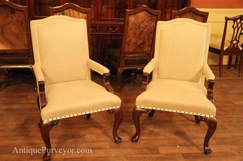 Upholstered Dining Room Arm Chairs, Queen Anne, Linen