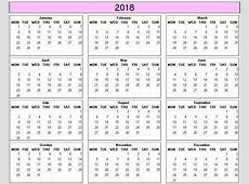 Yearly 2018 Printable Calendar color & weekday starts