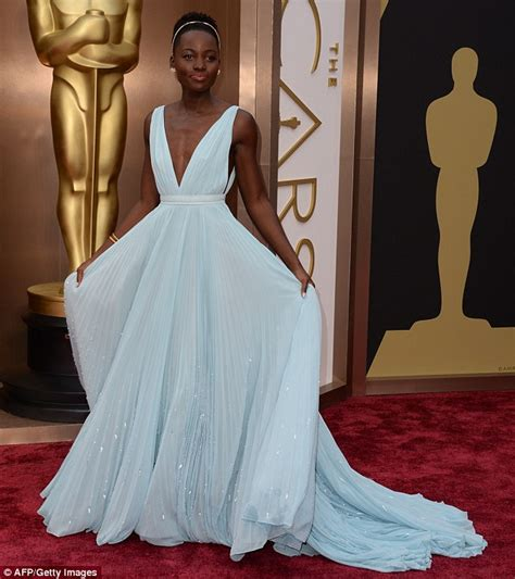 Red Carpet Dresses Online by Lupita Nyong O Wore A Miuccia T Shirt Following Oscar