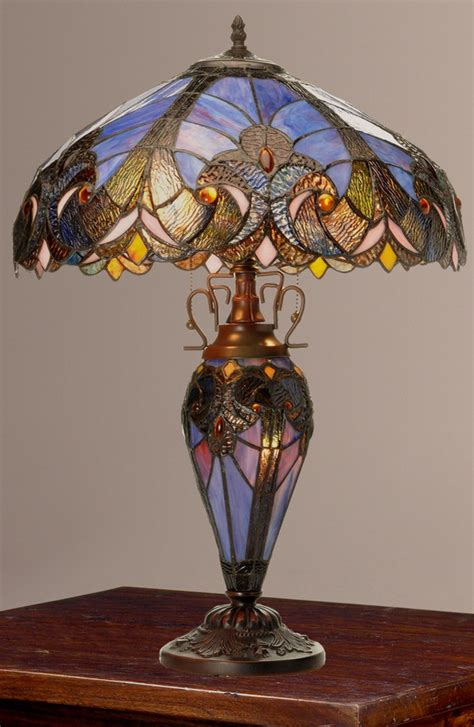 double lit tiffany style ls tiffany style 24 5 quot halston double lit stained glass l