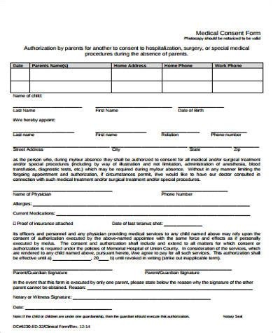 notarized medical release form sle medical authorization form