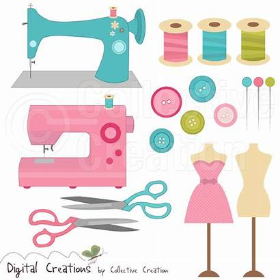 Sewing Clip Clipart Machine Illustration Dressmaking Commercial