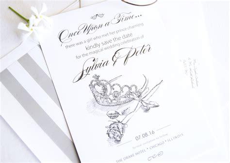 fairytale wedding tiara  rose save  date cards