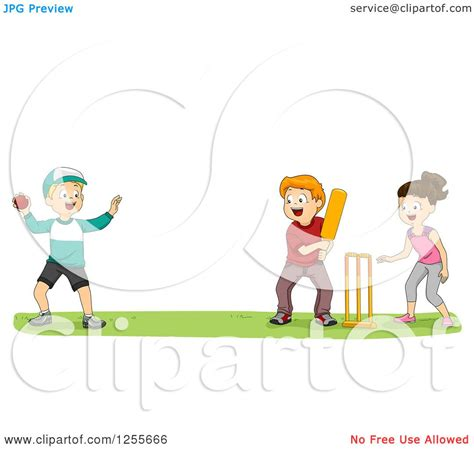 clipart   girl  boys playing cricket   park royalty  vector illustration  bnp