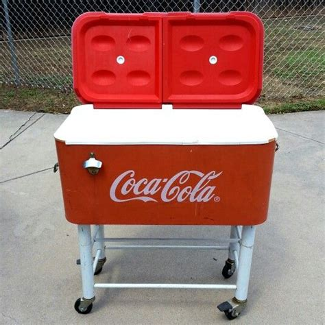vintage coca cola cooler on stand with wheels sold 9 10 13