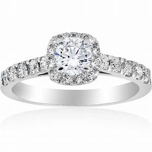 1 ct cushion halo round solitaire diamond engagement ring for Dimond wedding ring