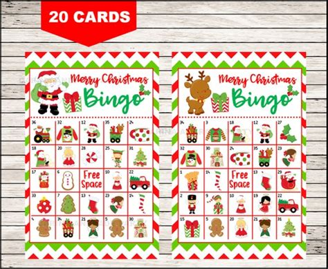 20 free printable christmas bingo cards. Christmas Bingo Printable Game 20 different Cards