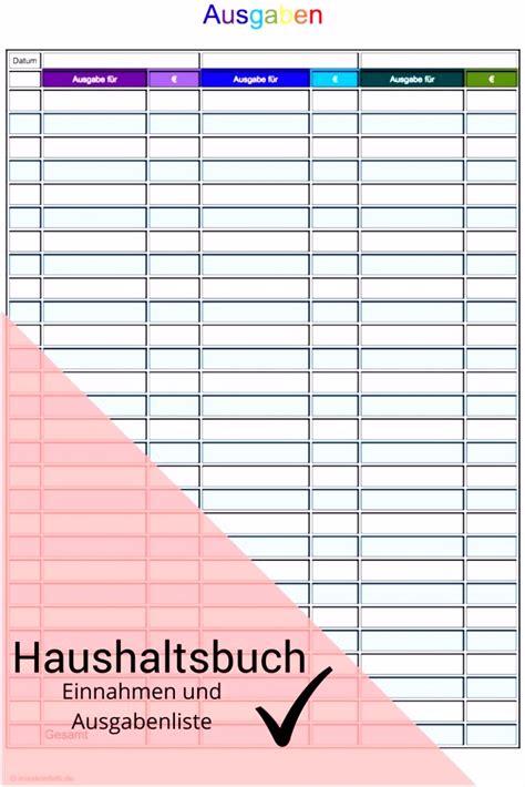 haushaltsbuch vorlage einfach sampletemplatex