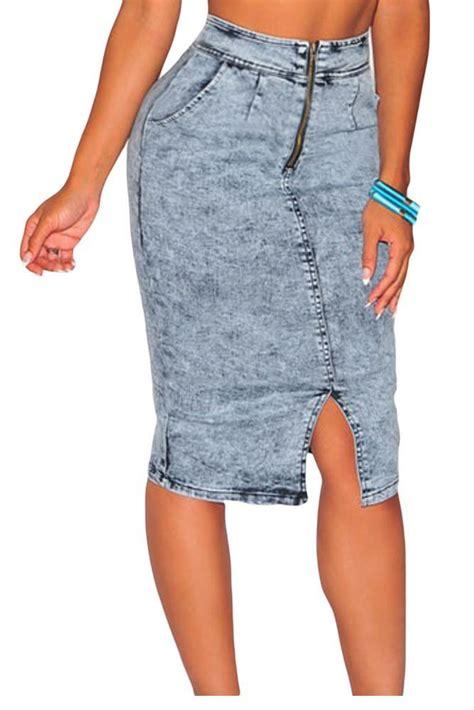 light blue jean skirt 2017 light blue denim skirt high waist midi skirts womens