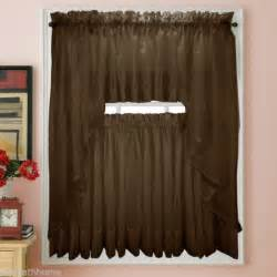 new elegance voile chocolate sheer tier panel curtains for