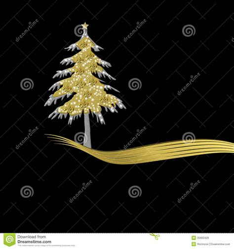 elegant christmas card in gold and black tree ornament with fle stock illustration image