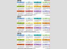 Dreijahreskalender 201620172018 als ExcelVorlagen