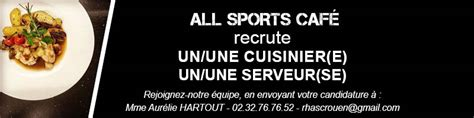 horaire d un cuisinier recrutement all sports caf 233