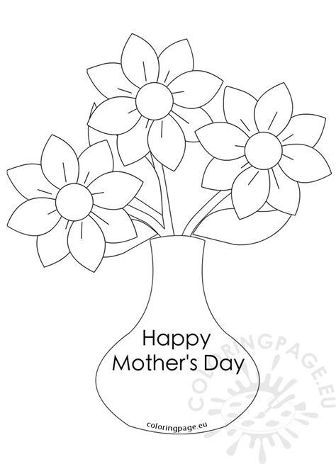 mothers day flowers vase   flowers coloring page
