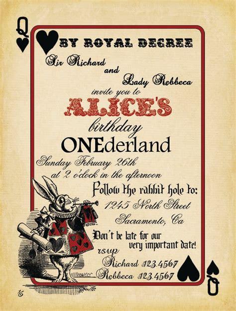 printable alice  wonderland birthday invitations