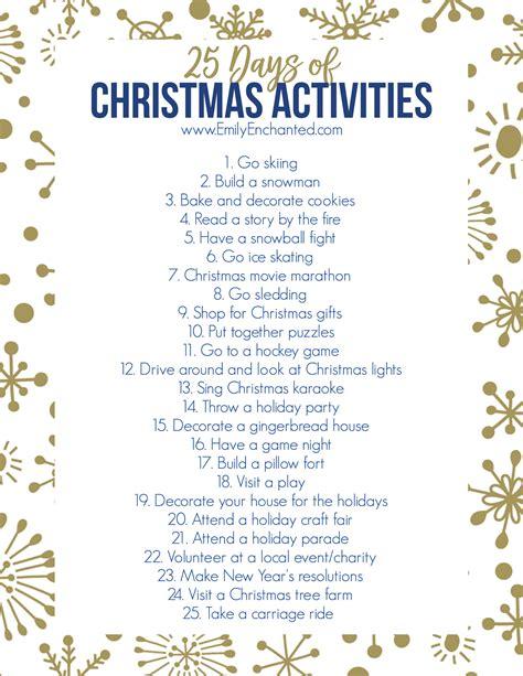 25 days of christmas activities printable free printable