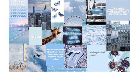 pastel blue aesthetic collage wallpaper laptop