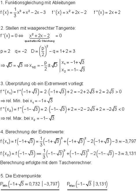 loesungen aufgaben extrempunkte   dritten grades mathe