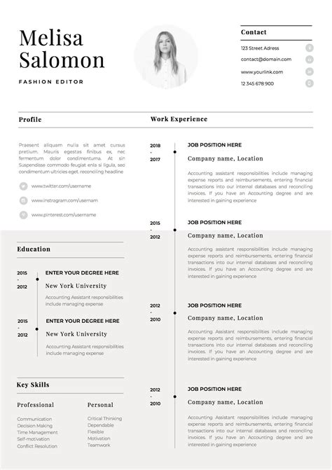 Resume Cv Template by One Page Resume Template With Photo For Word Pages Cv