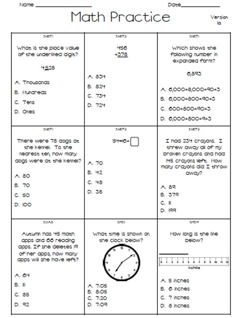free 1st grade assessment tests closet of free sles
