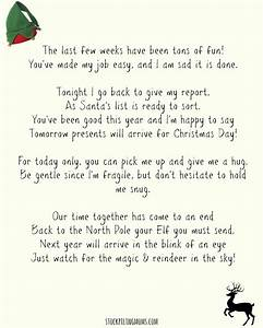 Elf on a shelf goodbye letter free printable for Goodbye letter from elf on the shelf template