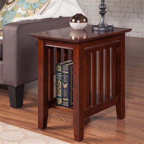 atlantic furniture mission chair side table  walnut