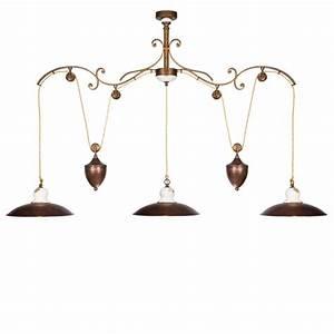 Tischdecken Für Lange Tische : zwei oder dreiflammige pendelleuchte mit zuggewicht f r lange tische oder ber die theke ~ Buech-reservation.com Haus und Dekorationen