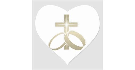 gold wedding rings and cross art heart sticker zazzle com
