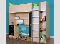 High sleeper cabin bed, with desk and wardrobe Calder M2270