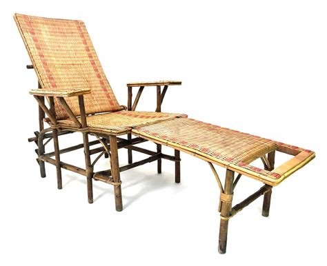 chaise longue rotin wicker bamboo chaise longue with footrest 1920s