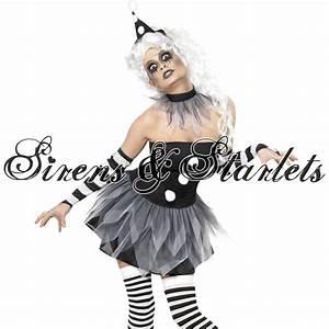 Kostm Damen Zombie Clown Gothic Mini Kleid Verkleidung