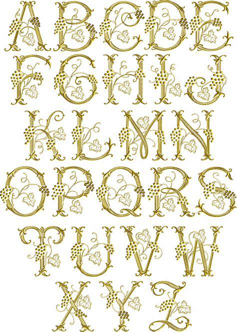 abc designs grape vines font machine embroidery designs   hoop ebay