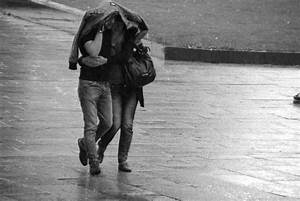 black and white, couple, love, rain - image #436005 on ...
