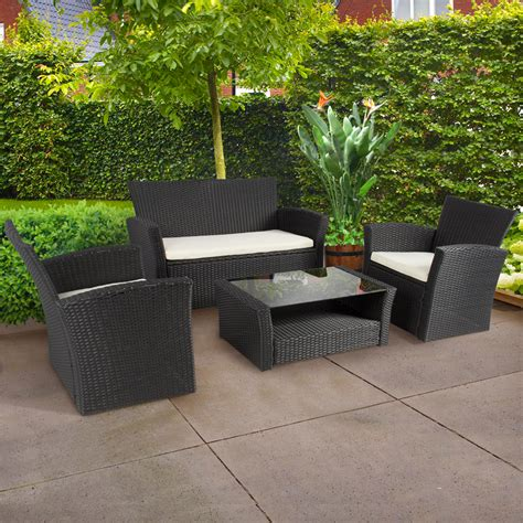 Outdoor Patio Furniture by 4pc Outdoor Patio Garden Furniture Wicker Rattan Sofa Set