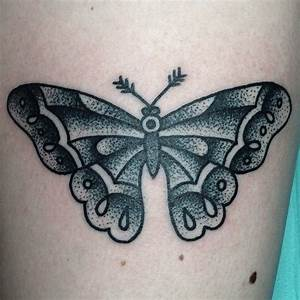 Traditional tattoo. Butterfly tattoo. Black and white ...