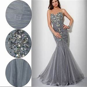 silver organza beautiful rainstones mermaid prom dress With cheap silver dresses for weddings