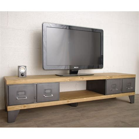 meuble tv style industriel ref manhattan heure cr 233 ation