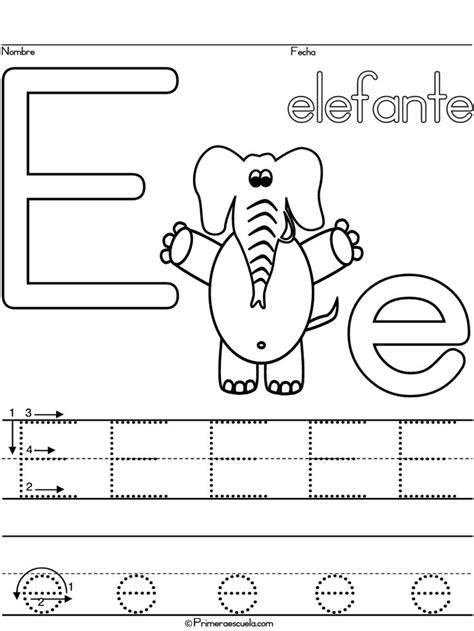 traza lineas de la escritura del alfabeto letra  elefante
