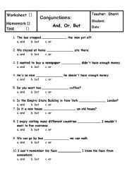 english worksheet conjunctions and or but projects to