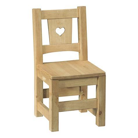 non chaise enfant en pin brut prt peindre avec coeu