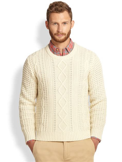 knitted sweaters lyst gant rugger lambswool cable knit sweater in white