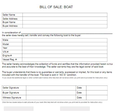 Used Boat Bill Of Sale Form by Boat Bill Of Sale Form Free Word Templates