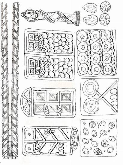Gingerbread Christmas Houses Parts Pieces Coloring Crafts