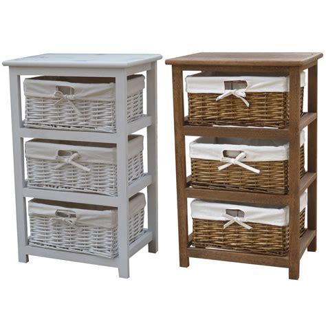 Bentley Home Wooden Storage Cabinets With 3 Wicker Basket