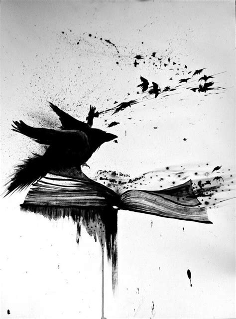Crow blackbird raven book blackwork sketch tattoo | Tatouage corbeau, Corbeau et Idées de tatouages