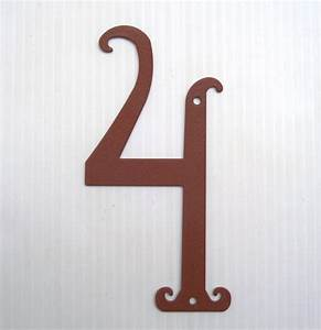 House Number 4 Antique Style Rustic Color Powder Coated Metal