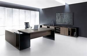 Ultra Modern Executive Black Desk - Ambience Doré